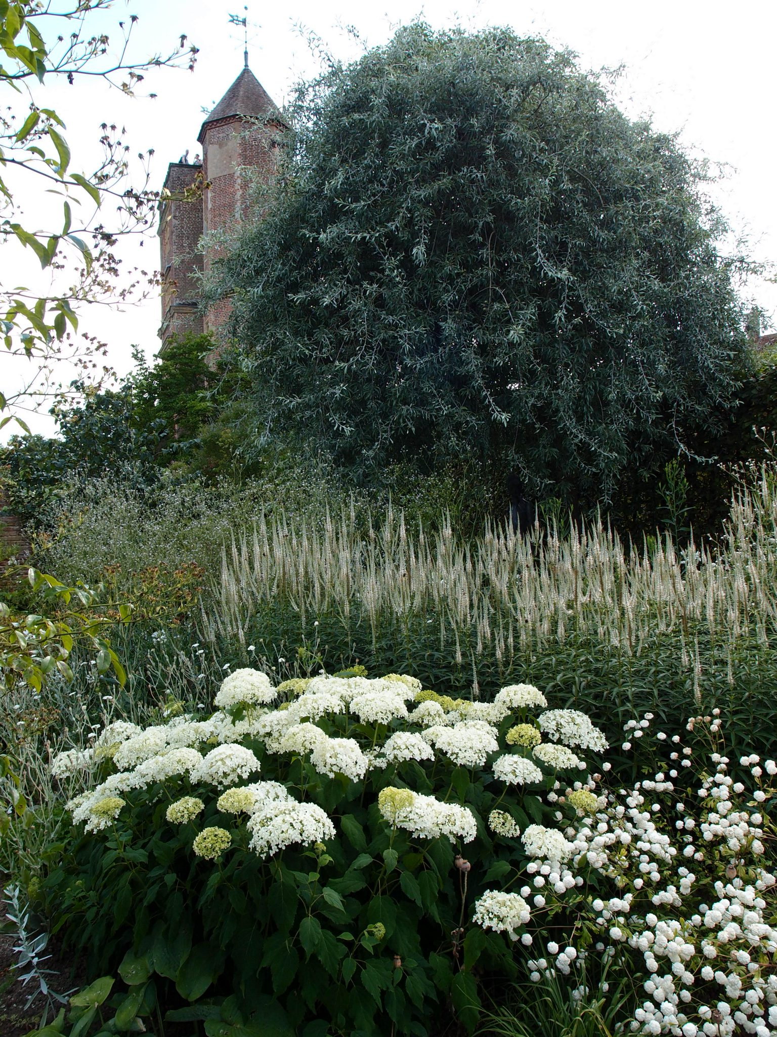 A lushly-planted corner of the White Garden