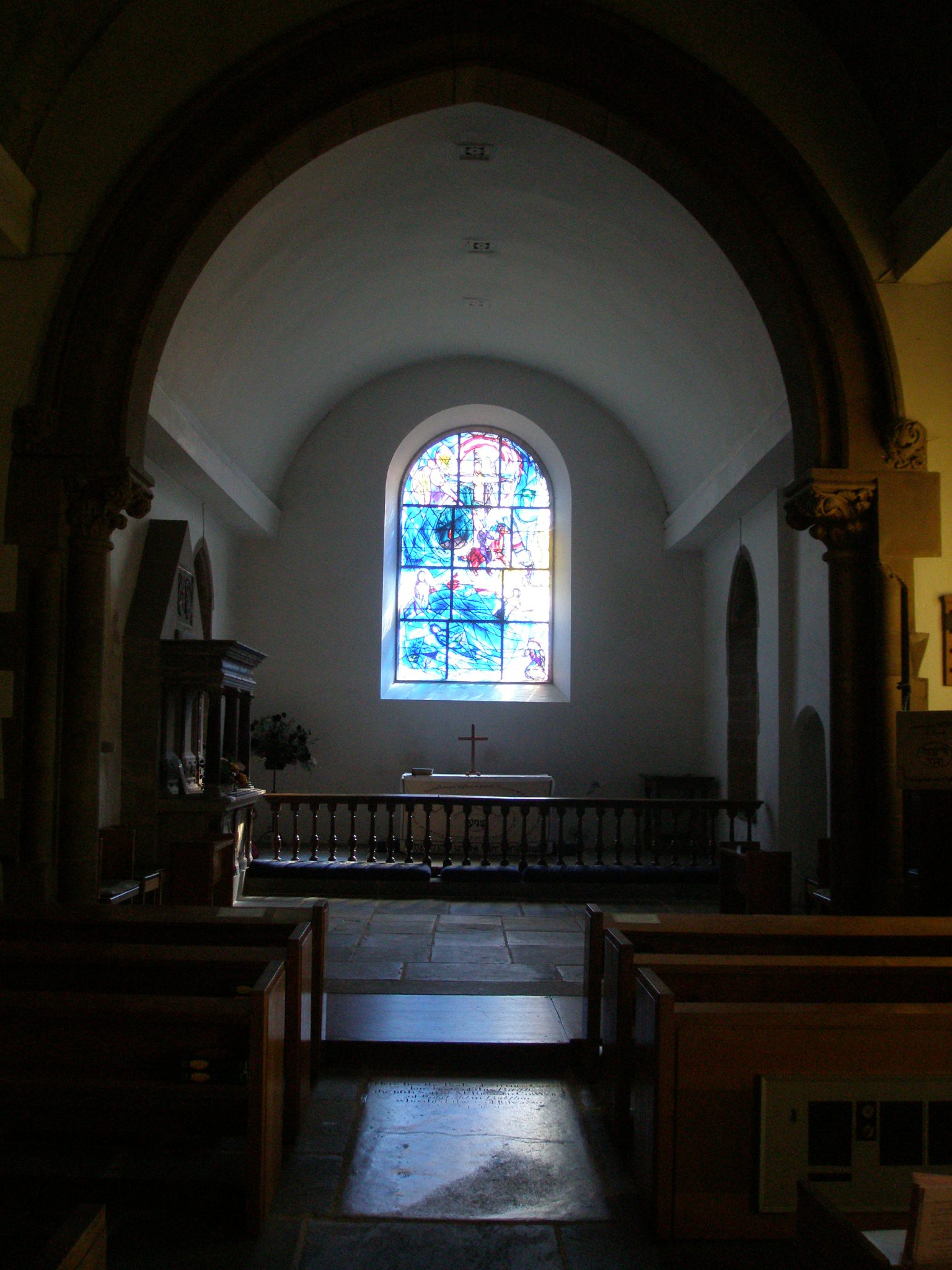 The humble interior of All Saints Church.