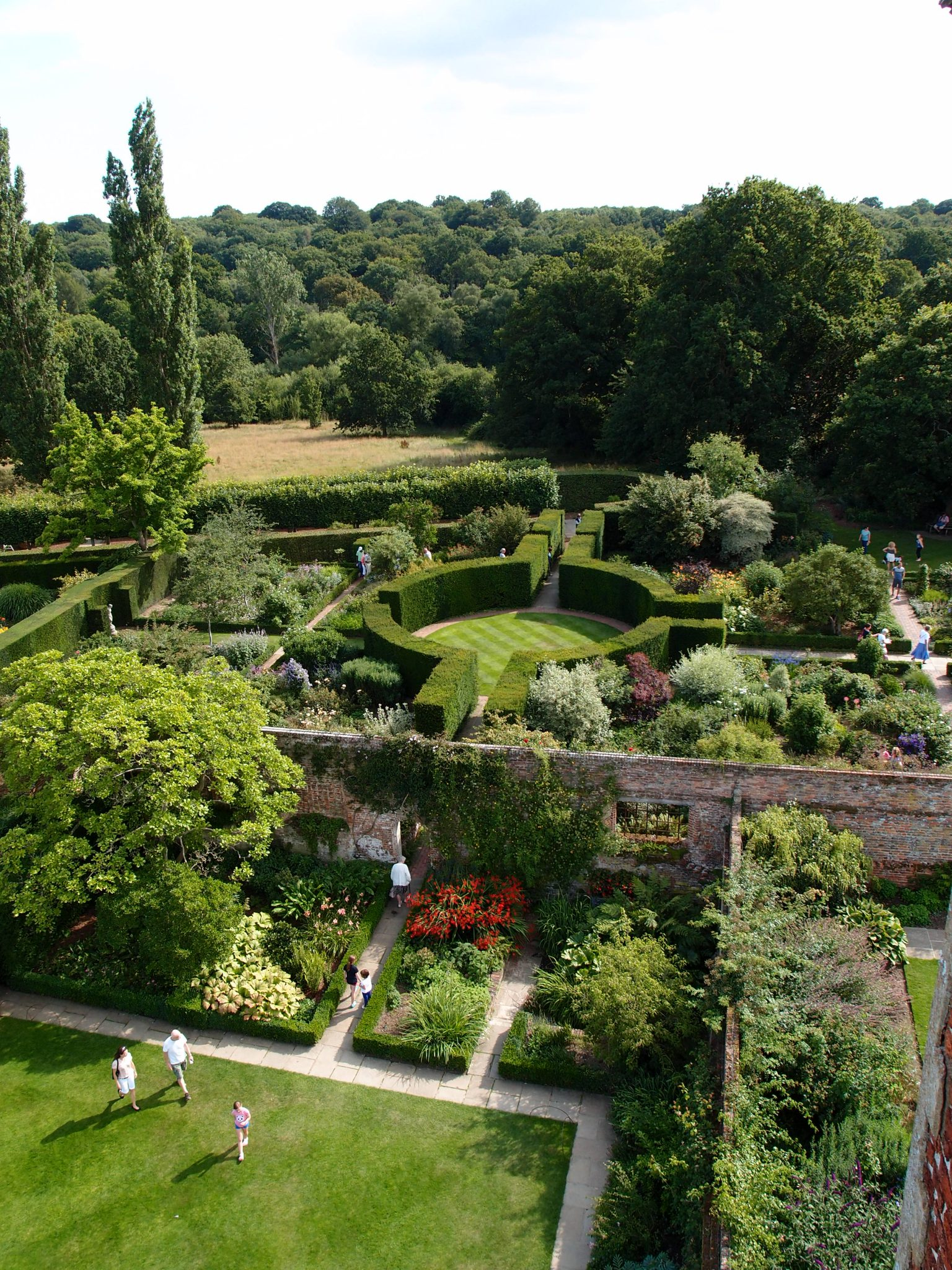 My Tower-top view of the Rose Garden's Rondel, taken late in the afternoon, after the crowds had gone away.