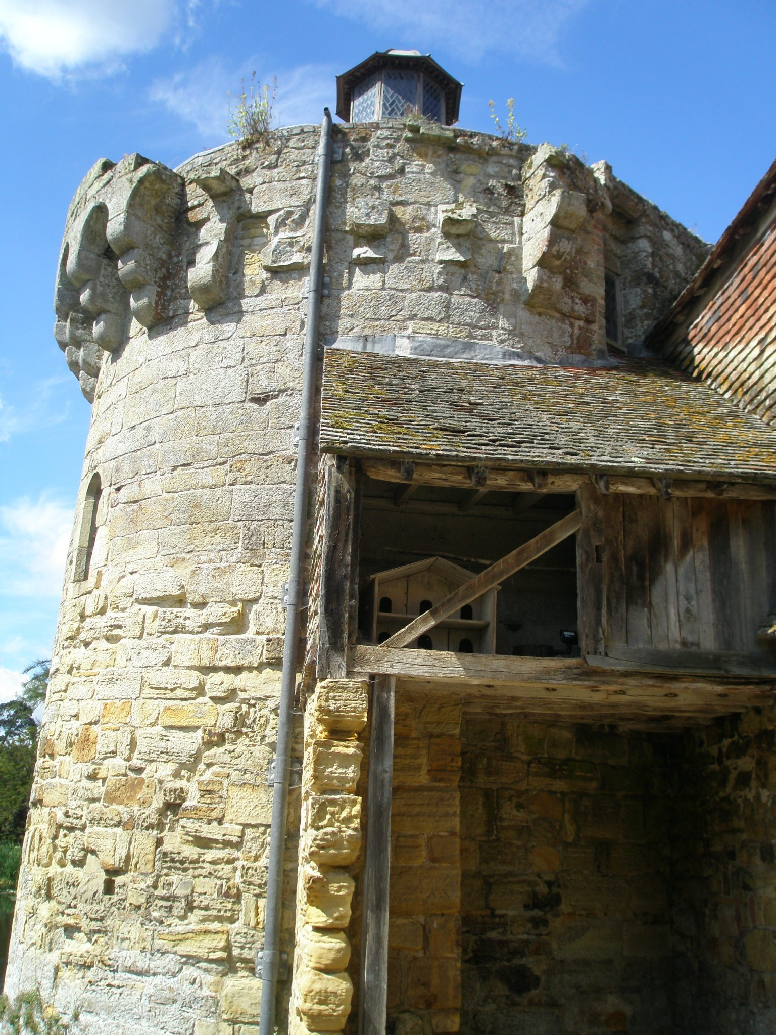 Dovecote behind the 14th century tower of the Old Castle
