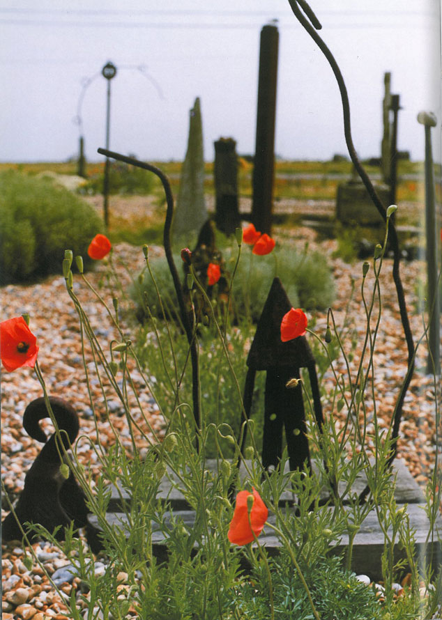 Fragments of scrap metal and red poppies punctuate a sweep of beach rock. Image courtesy of Estate of Derek Jarman.