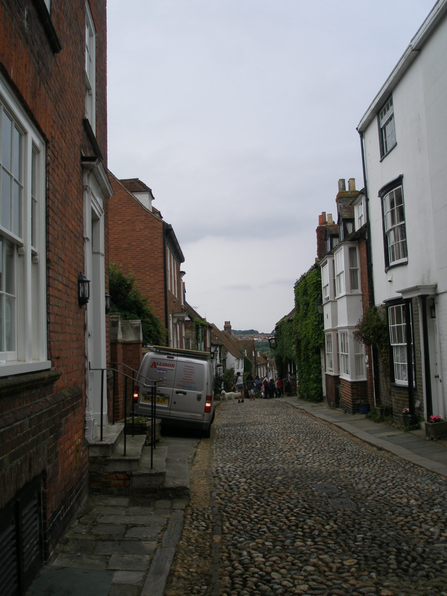 We're at the top of Mermaid Street, about to head downhill to the Mermaid Inn, which is the ivy-covered building on the right hand side of the Street. Starvation had set in...'twas time for LUNCH.