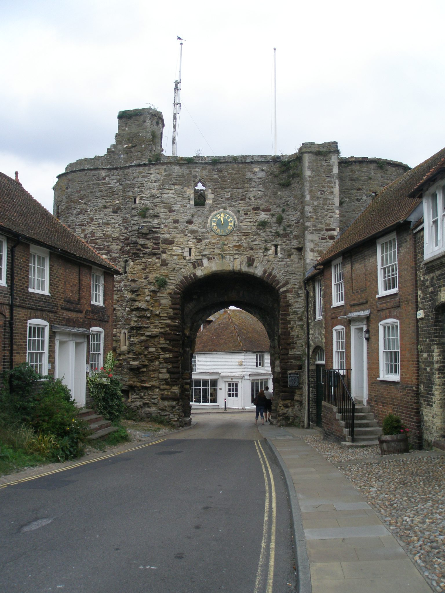 At the northeast corner of Rye is the Landgate, one of four gateways that were built in 1329, when a great wall was erected around the perimeter of the town. The Landgate is the only gate that's survived. Originally, its two towers had pointed roofs, and a pitched roof was over the arch.