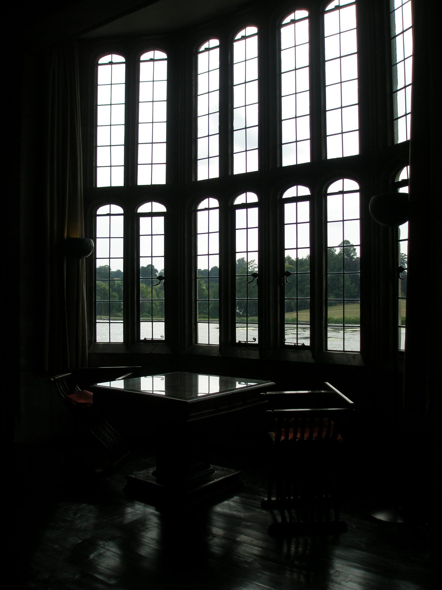 Bay windows in the Banqueting Hall. Prior to Henry's arrival, the narrow arrow-slits that had served as windows in the Hall were replaced with the generous expanses of glass that now overlook the moat.