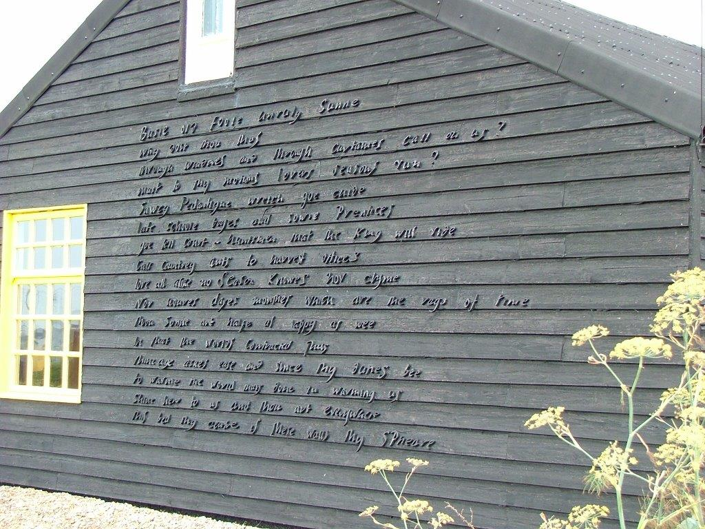 Derek Jarman chose his favorite portions a John Donne poem, and had the words affixed to the wall of Prospect Cottage. Photo by Anne Guy.
