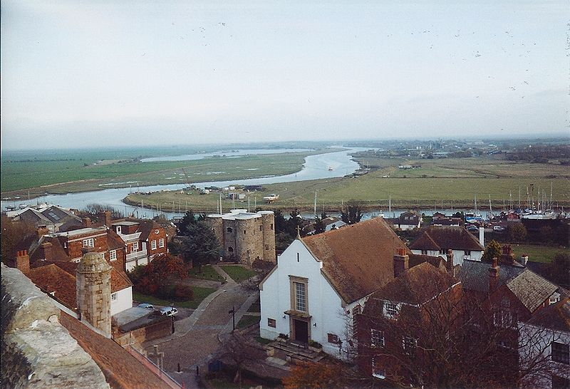 The view from Rye---there's our Ypres Tower again---across the River Rother, and out over the great expanses of Romney Marsh.