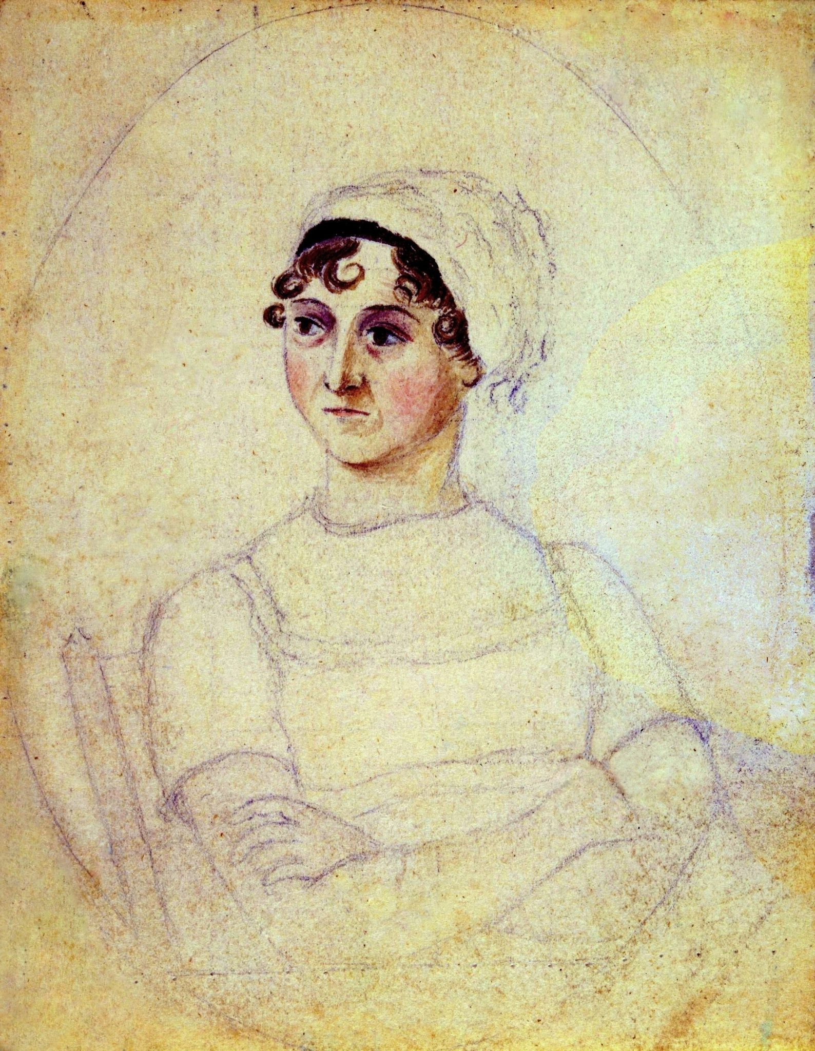 Jane Austen, in 1810, when she was 35 years old. Pencil and watercolor, by her sister Cassandra Austen. Jane was born in 1775, and died in 1817, most likely of Addison's Disease. This portrait was made while and her sister and their mother lived at Chawton Cottage, on England's South Coast.