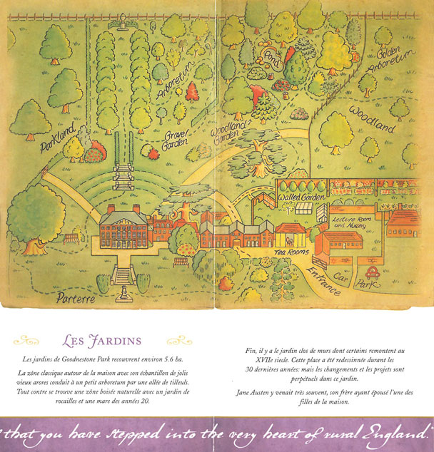 A Map of the Gardens at Goodnestone Park, as they are now. Note: This map is truncated. The Walled Garden extends much farther, to the North, in the direction of the Village, and Church.