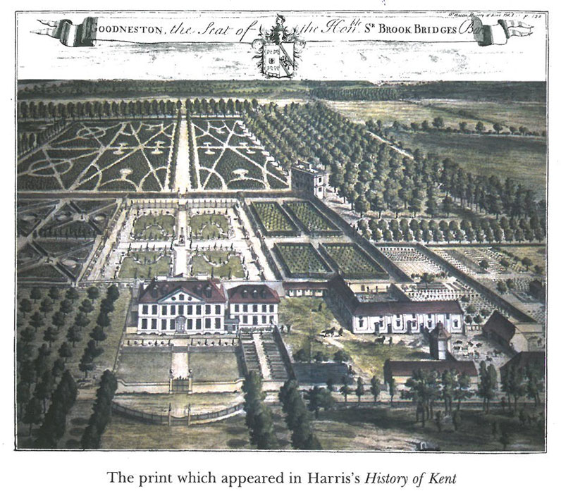 Goodnestone Park, in 1719. From the engraving in Harris's HISTORY OF KENT. Image courtesy of Goodnestone Park.