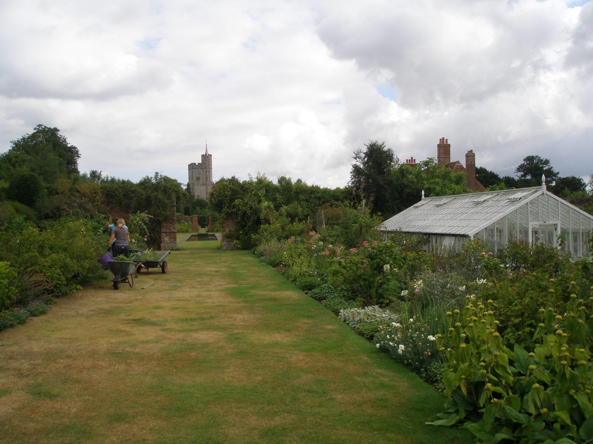 Inside the Walled Garden, Goodnestone's gardeners were hard at work.