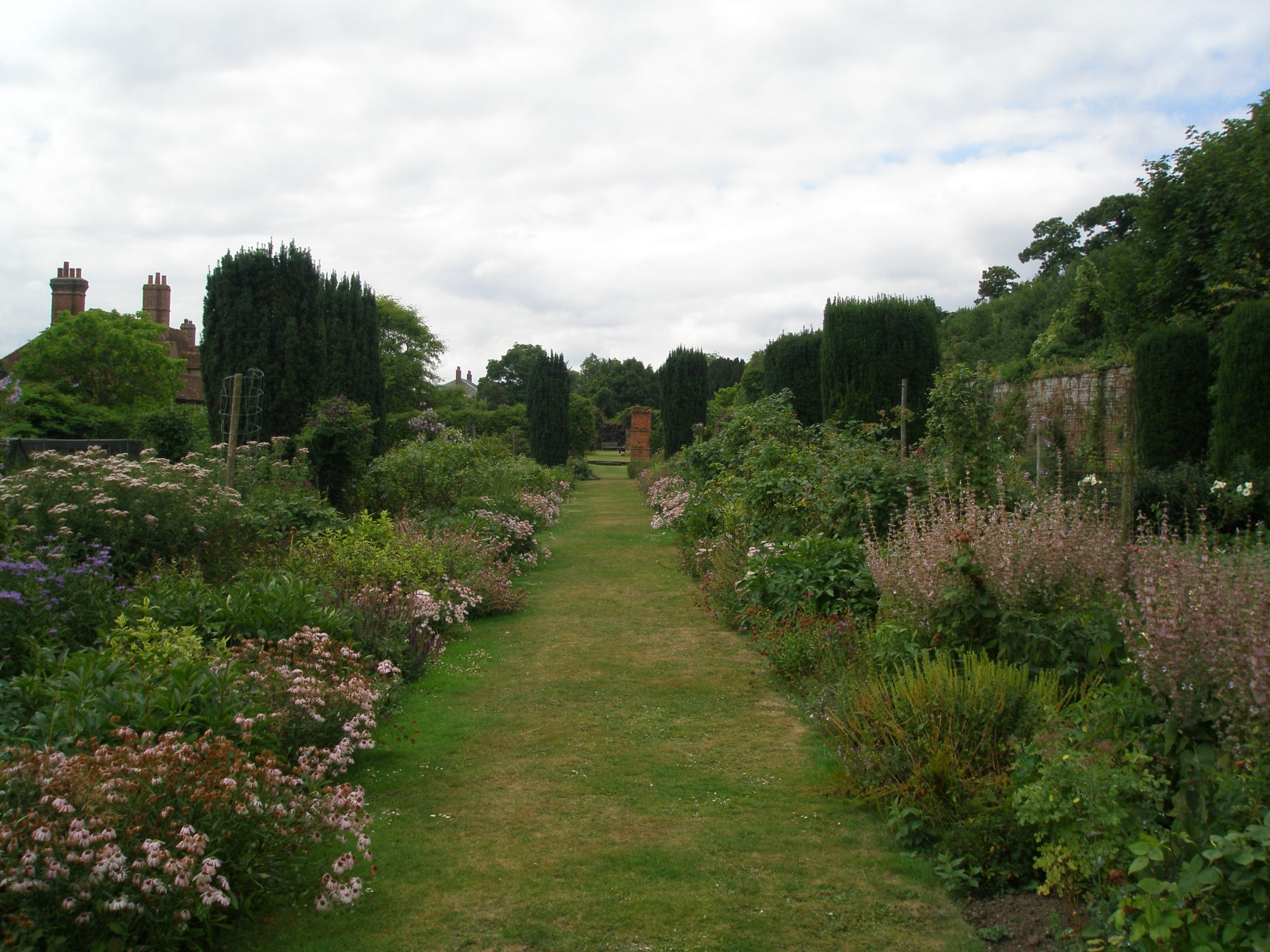 A view from the far end of the Walled Garden, back down along the central path.