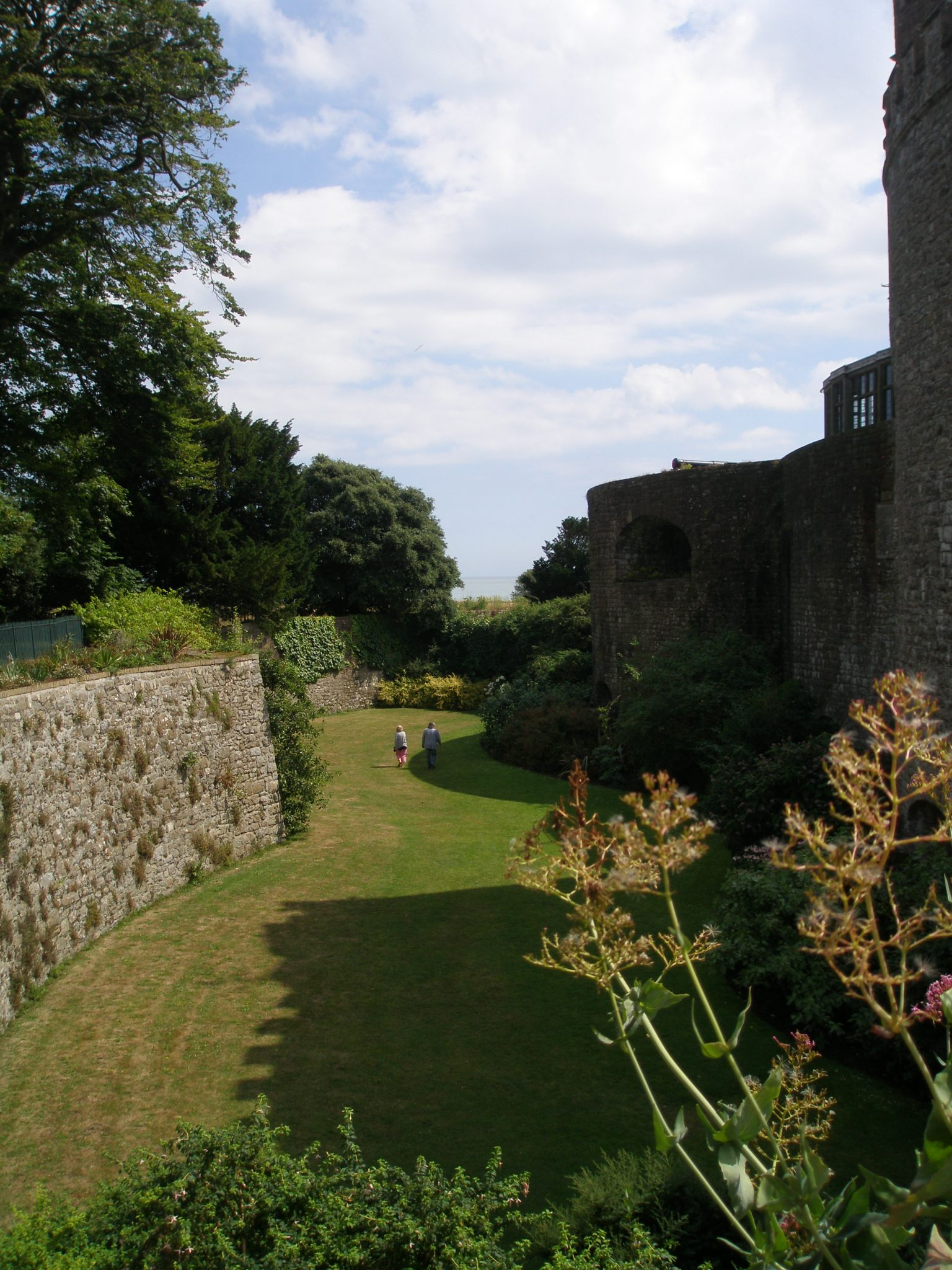 This was our view from the Entry Bridge, down into the Moat, which has been transformed into a Garden.