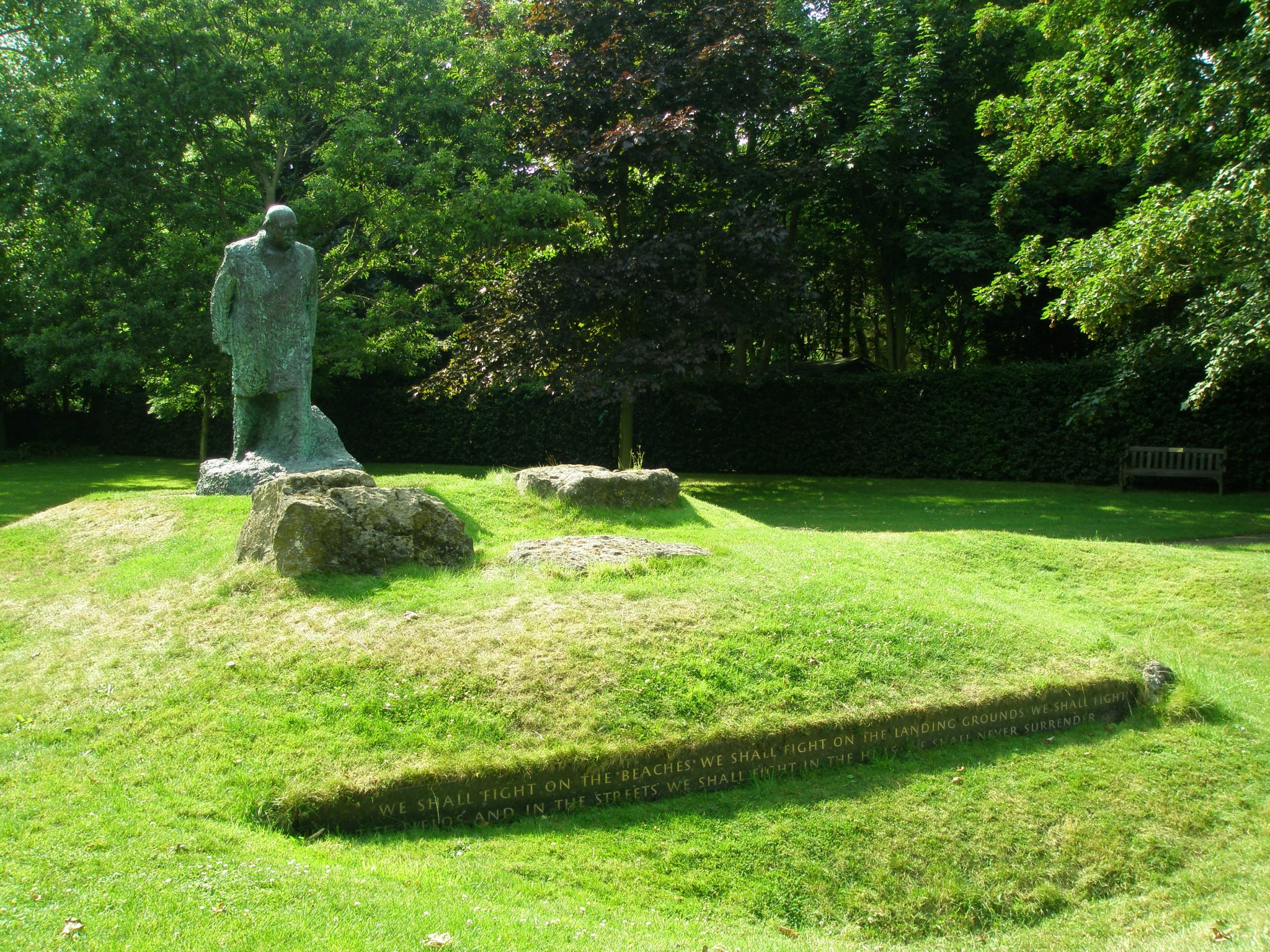 Further uphill, we met this rather grumpy-looking statue of Winston Churchill.