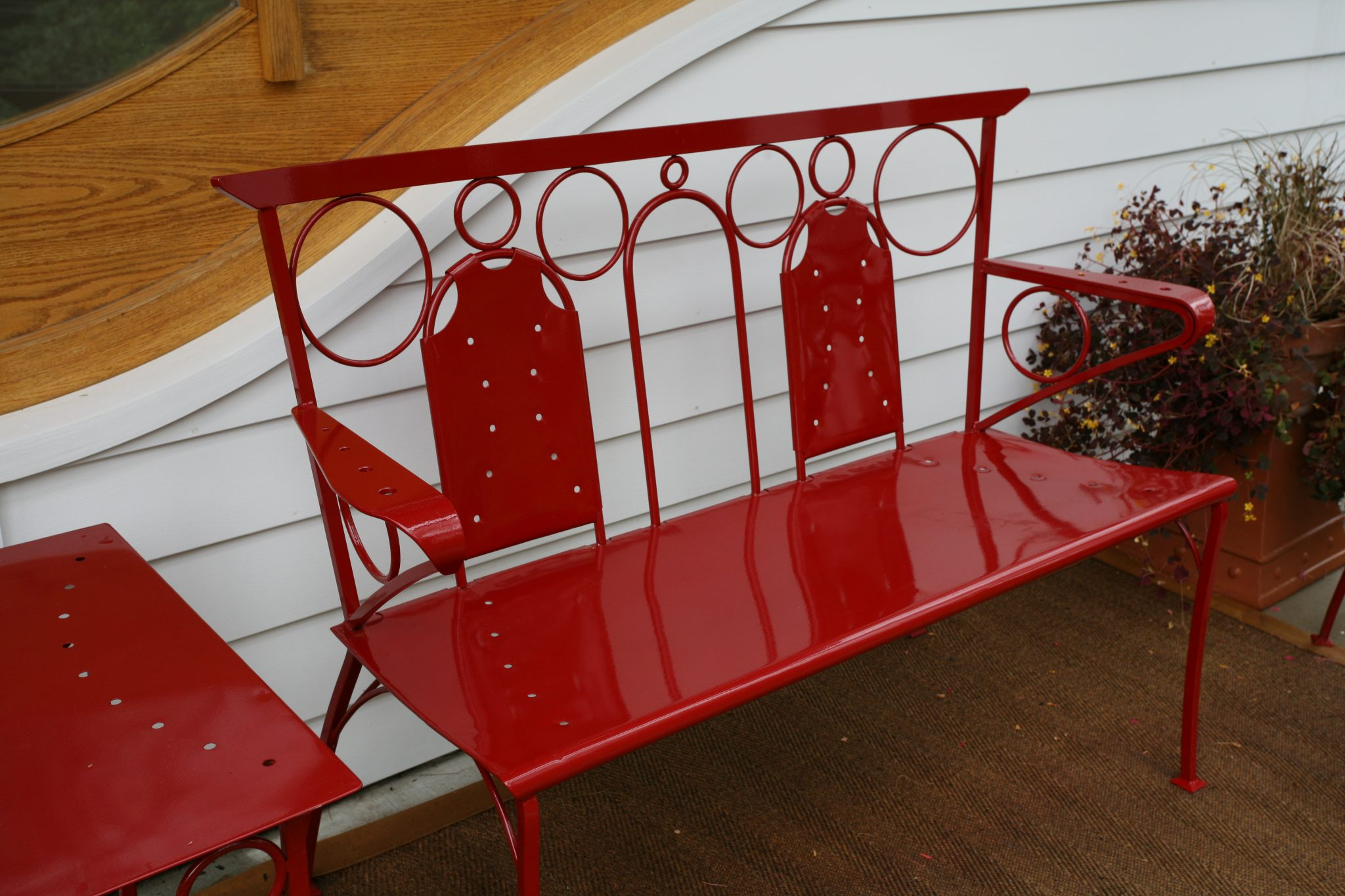 My Lorenzo Love Seat, powder coated in Chinese Red.