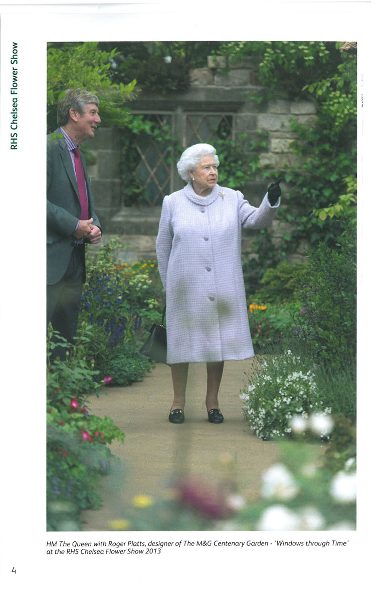 HM The Queen, in 2013, during a fast tour of a Show Garden. Image courtesy of the RHS Chelsea Flower Show catalogue.