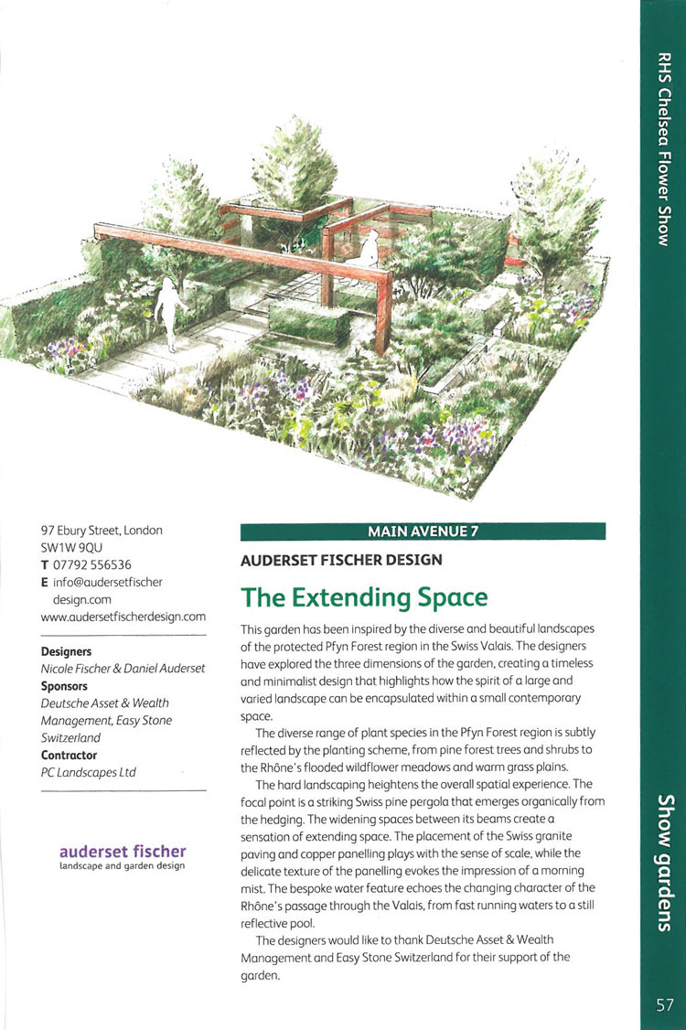 The Extending Space. Image courtesy of the RHS Chelsea Flower Show catalogue.