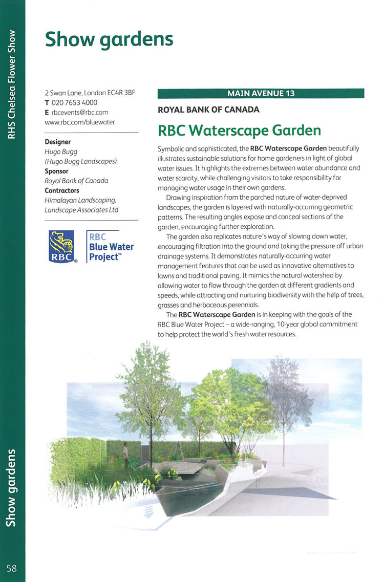 RBC Waterscape Garden. Image courtesy of the RHS Chelsea Flower Show catalogue.