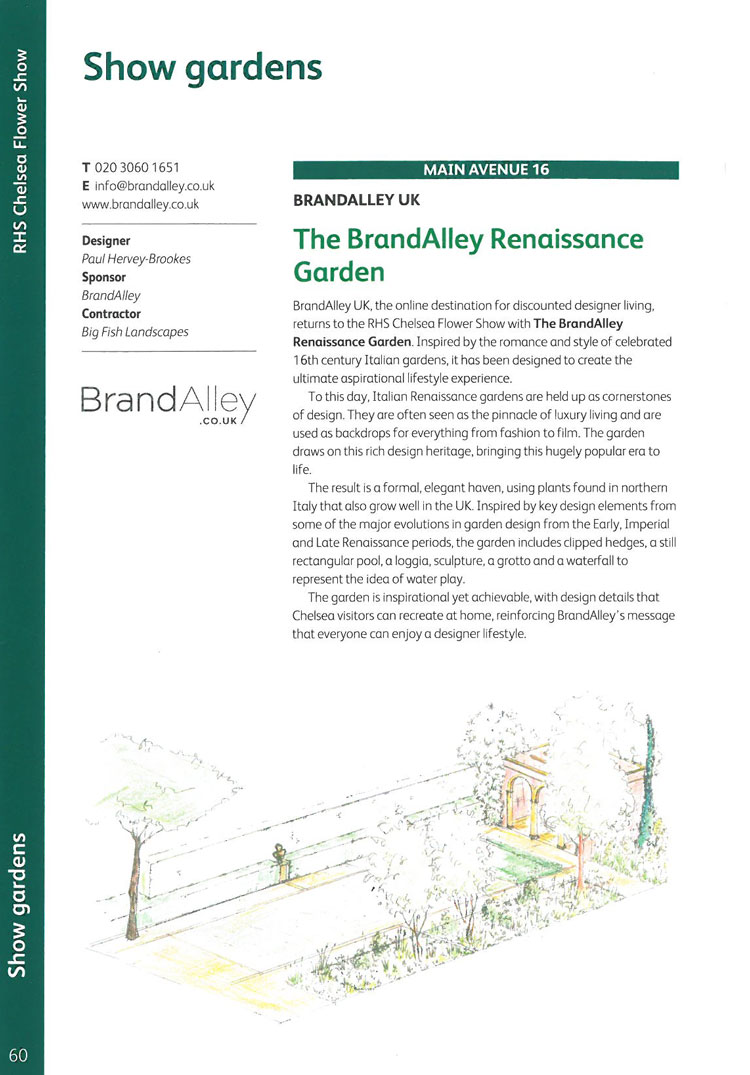 The Brand Alley Renaissance Garden. Image courtesy of the RHS Chelsea Flower Show catalogue.