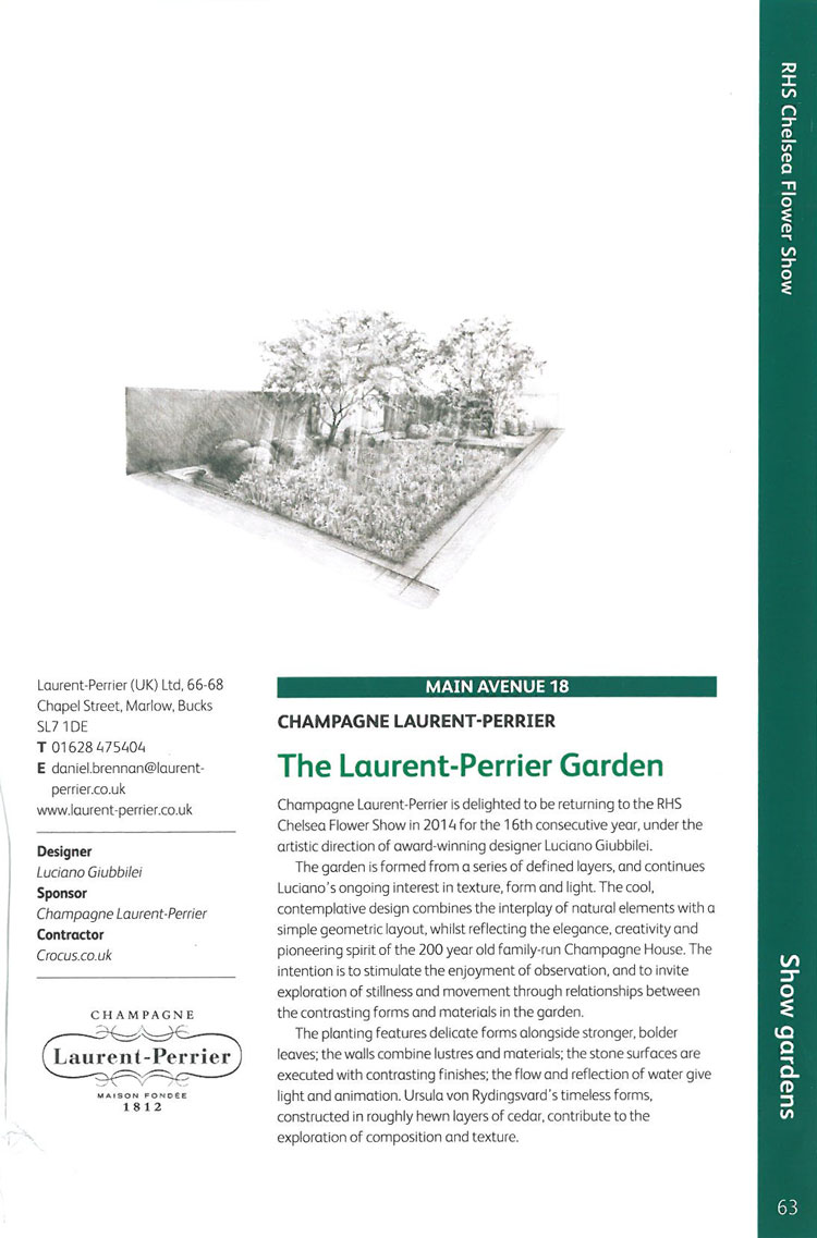 The Laurent-Perrier Garden. Image courtesy of the RHS Chelsea Flower Show catalogue.