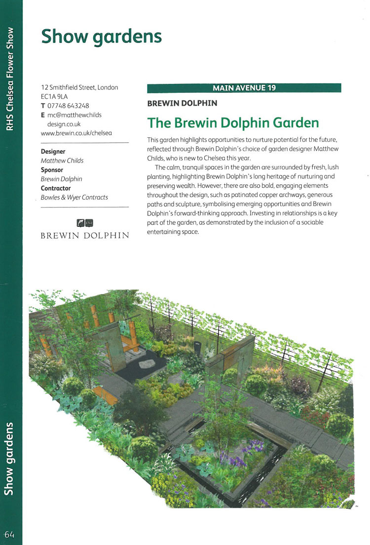 The Brewin Dolphin Garden. Image courtesy of the RHS Chelsea Flower Show catalogue.