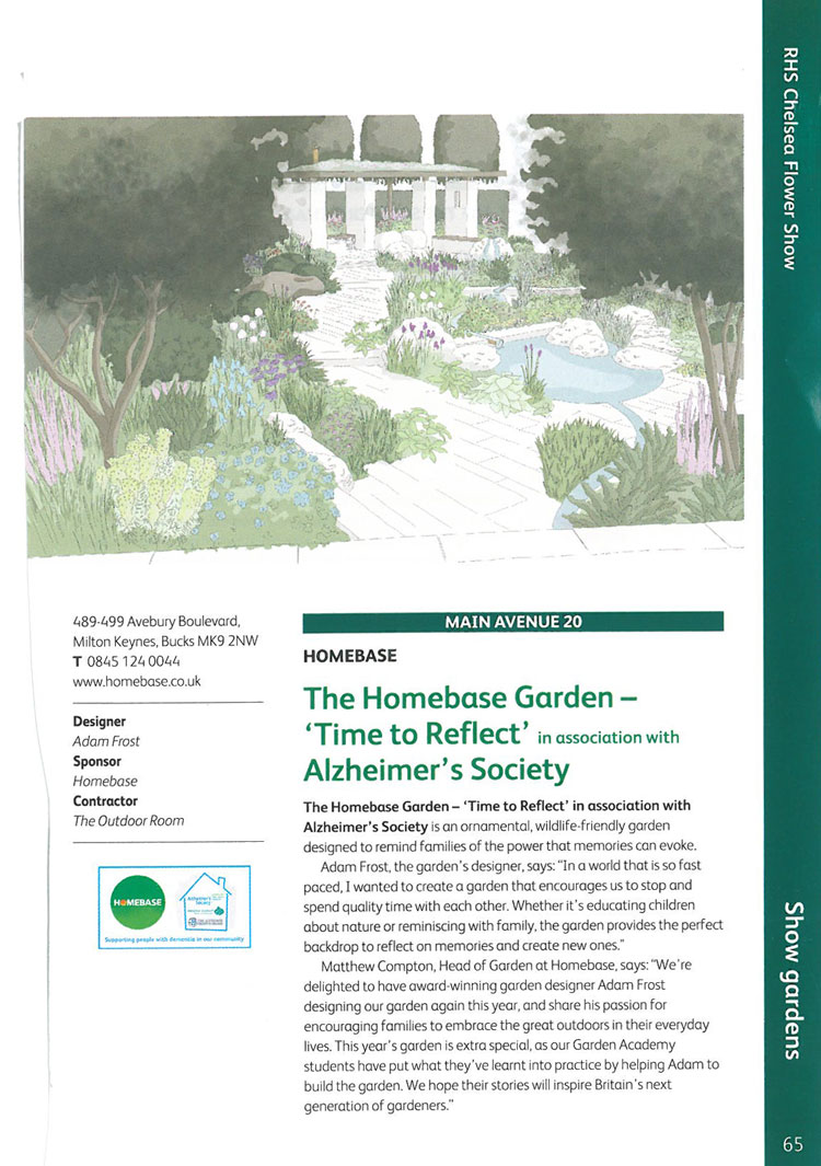 "The Homebase Garden--""Time to Reflect."" Image courtesy of the RHS Chelsea Flower Show catalogue."