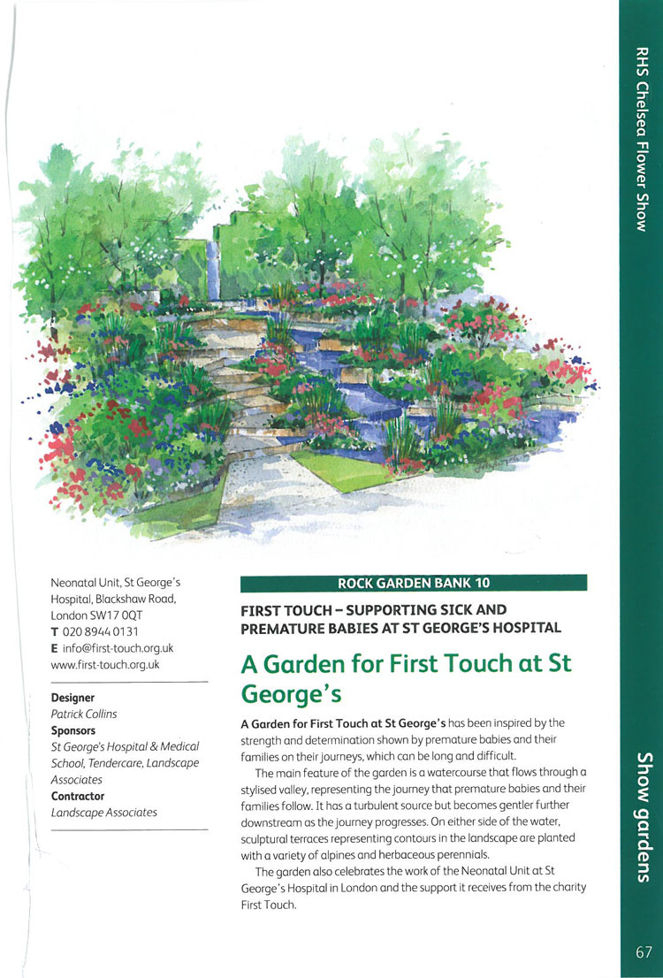A Garden for First Touch at St. George's. Image courtesy of the RHS Chelsea Flower Show catalogue.