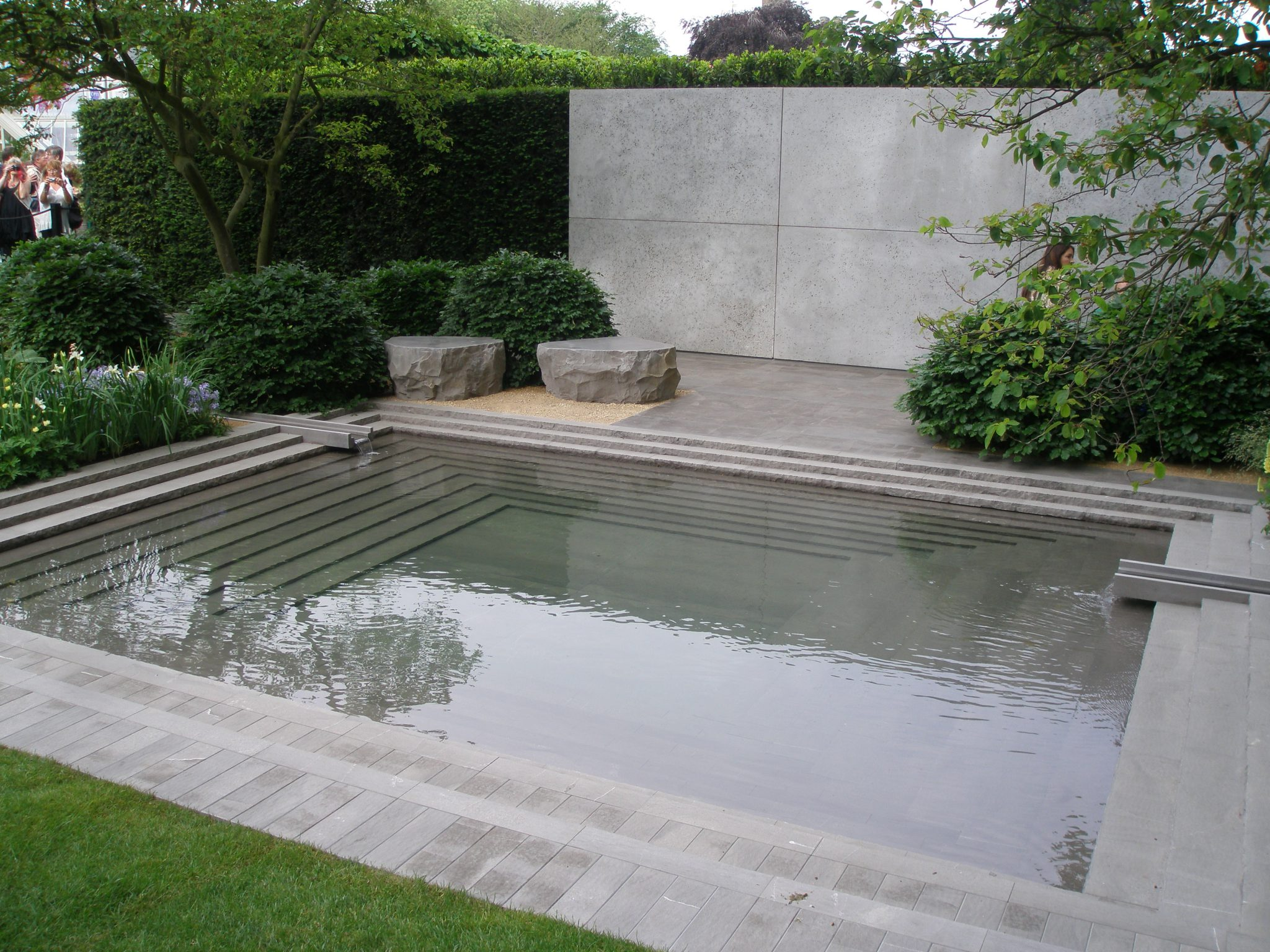 The Laurent-Perrier Garden. Perhaps the stern gray color of the stone here in the pool is what makes me want to keep my distance from this carefully-crafted garden.