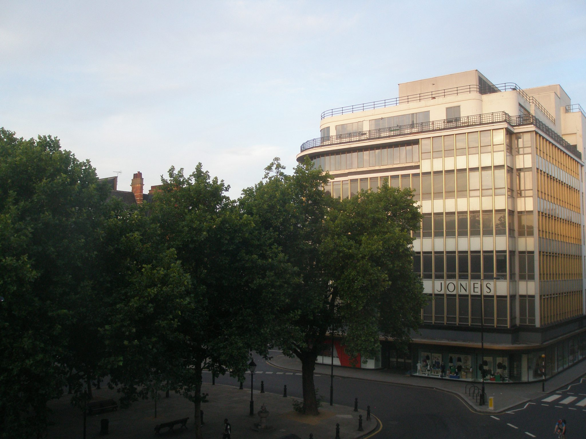 An early-morning view of the Peter Jones Department Store, from my windows at the Sloane Square Hotel. I took this photo on August 21, 2013.