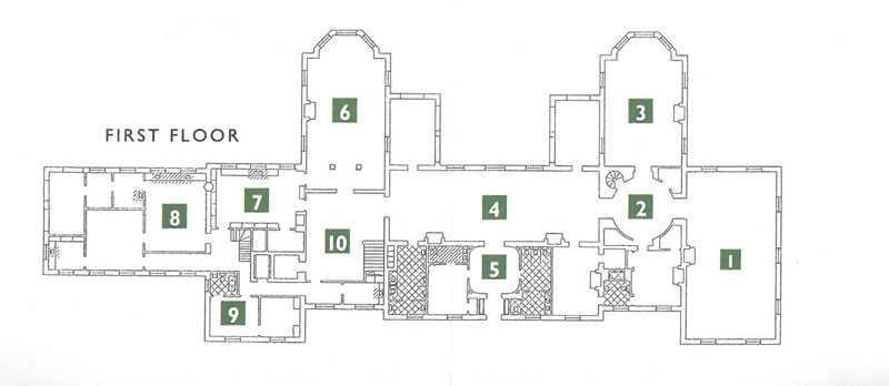 The FIRST FLOOR ROOMS. 1-Living Room. 2-Rotunda. 3-Library. 4-Gallery. 5-Reception Foyer. 6-Dining Room. 7-Butler's Pantry. 8-Kitchen. 9-Butler's Suite. 10-Stair Hall.