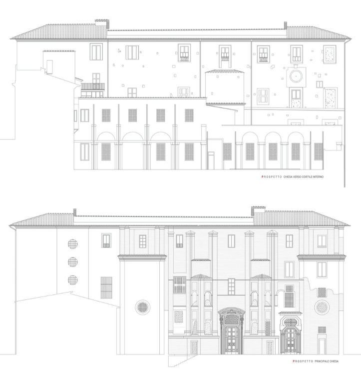 Elevation Drawings of the Church of Santa Maria dei Sette Dolori. On the bottom: the Church itself. On the top: exterior elevation of a wing of the Convent.