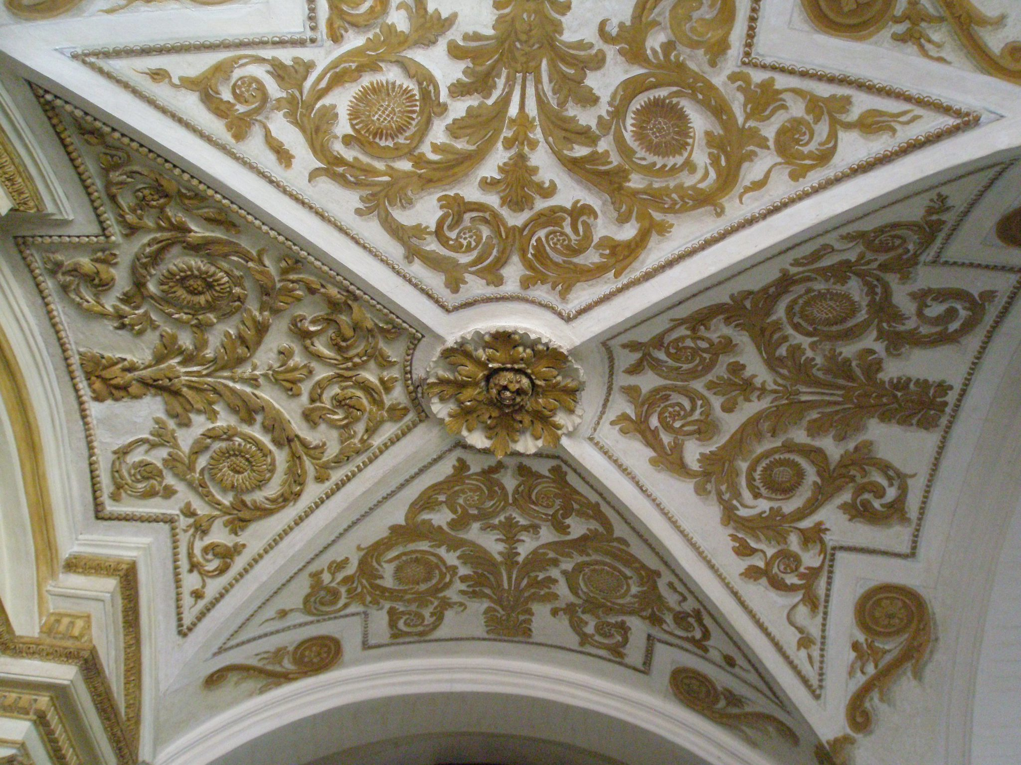 Detail of vaulted ceiling, on the landing of La Scala Borrominiana.