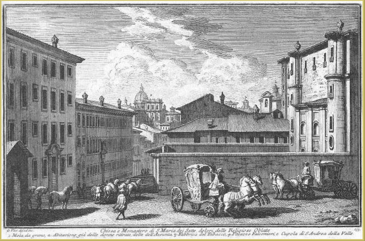 Period etching of Santa Maria die Sette Dolori. The wall shown here is the same wall that still separates the Hotel's entry courtyard from via Garibaldi. Today's visitors to the Hotel still see this brick facade, which is embellished only by Borromini's eccentrically-arranged windows & alcoves.