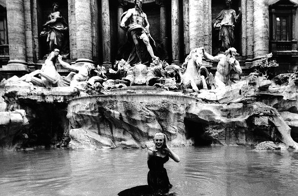 Anita Eckberg, soaked to the skin, in Federico Fellini's 1960 film LA DOLCE VITA.