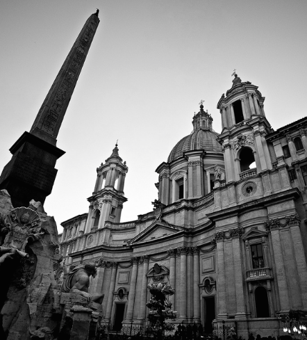 The Baroque Chiesa di Sant'Agnese in Agone, on the Piazza Navona...a better look at Borromini's two towers.