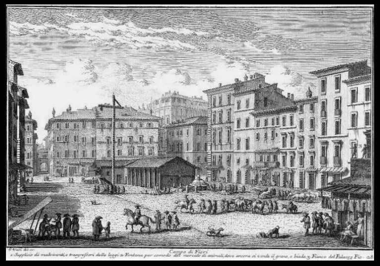 Etching by Guiseppe Vasi of Campo di Fiori, in the 1740s