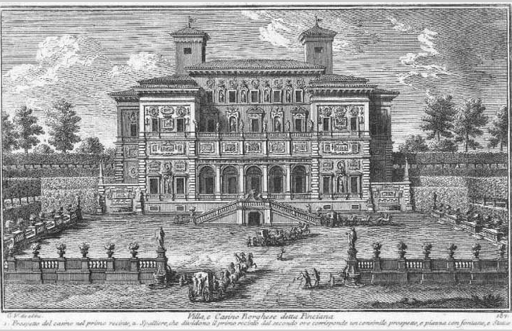 Period etching of the Casino Borghese