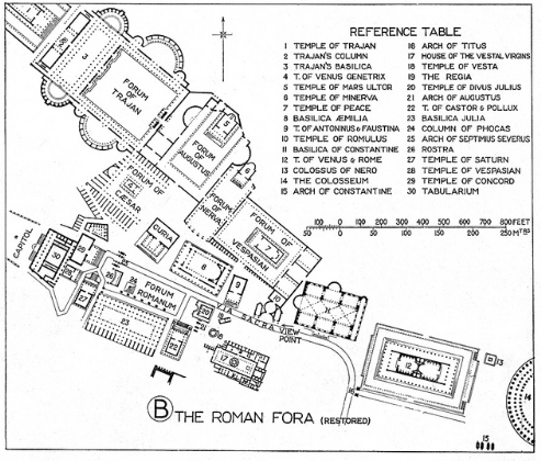 Map of the Entire Historic Center, including Trajan's enormous Forum, built to the north of the Roman Forum. Trajan's Forum (112AD), along with his Market, and Column (more about his COLUMN later...), was the last Imperial Forum to be constructed in Ancient Rome.