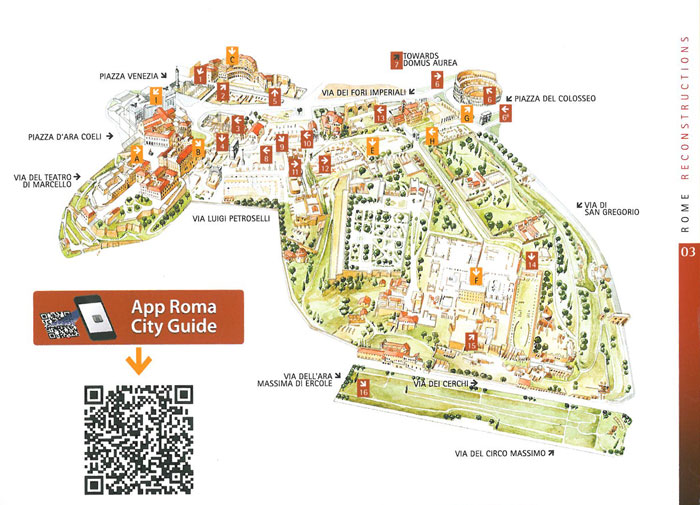 Map of the Historic Center of Rome. Image courtesy of ROME:PAST&PRESENT, by R.A.Staccioli.