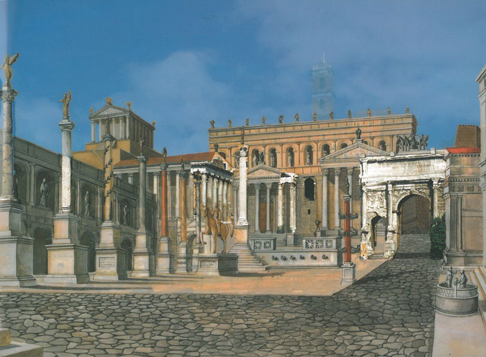 Reconstructed view of the Square of the Roman Forum. This vantage point is from the western end of the Forum, looking back toward the Tabularium & the Capitoline Hill. Image courtesy of ROME:PAST&PRESENT, by R.A.Staccioli.