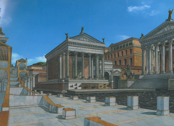 Back now...inside of the Roman Forum. Reconstructed view of the Temple of Divus Julius (center), and the Temple of Castor & Pollux (far right). These temples defined the eastern edge of the original Forum. Image courtesy of ROME:PAST&PRESENT, by R.A.Staccioli.