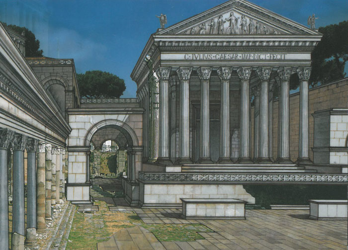 Reconstructed view of the Forum of Caesar, which was built to the north of the Square of the Roman Forum, and west of the Curia. Image courtesy of ROME:PAST&PRESENT, by R.A.Staccioli.