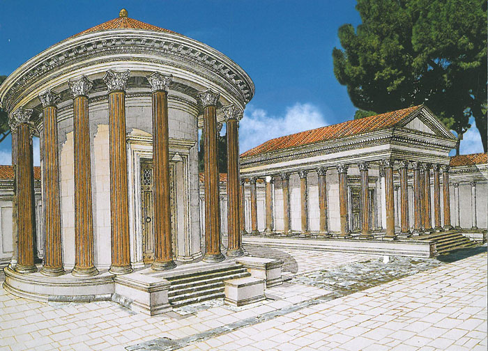 Reconstructed view of the circular Temple B, along with an earlier temple, now identified as Temple A. Temple A was later remodeled as a church, whose apse still exists. Image courtesy of R.A.Staccioli's ROME:PAST&PRESENT.