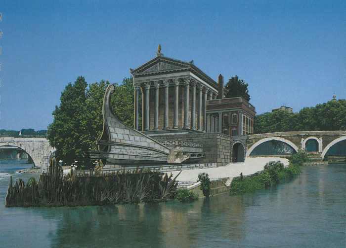 Reconstructed view of the Temple of Aesculapius, and also of the VERY COOL boat-shaped monument that was built on the eastern end of the Isola Tiberina. Image courtesy of R.A.Staccioli's ROME:PAST&PRESENT.