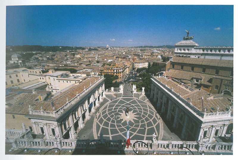 Aerial view of the Campidoglio, and the Cordonata. Image courtesy of the Capitoline Museums.
