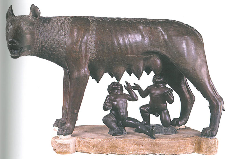 The Capitoline She-Wolf, which is the symbol of Rome. Here, Romulus & Remus are being suckled by the wolf who cared for them. This bronze was for centuries attributed to a 5th century BC workshop in Eturia or Magna Graecia, but recent radiocarbon analysis indicated that the wolf-portion of the statue was cast between 1021AD and 1153AD. Image courtesy of the Capitoline Museum.