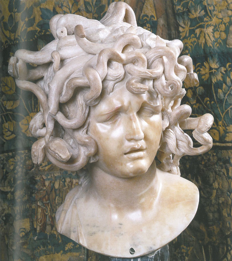 "Bust of Medusa, by Gian Lorenzo Bernini (circa 1630s--1640s). Bernini boasted that his statue had the power to stun, and thus ""petrify"" all who looked upon it. Image courtesy of the Capitoline Museum."