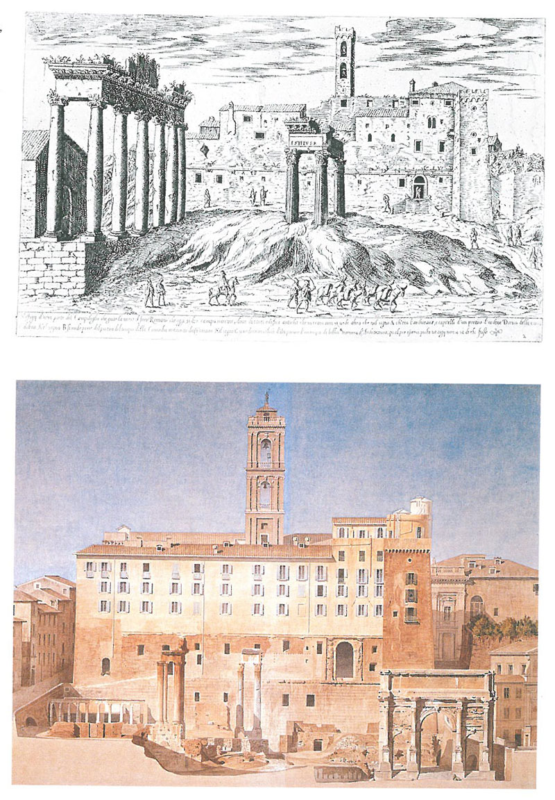 Top: In the background, the Palazzo Senatorio, in a drawing by Etienne Duperac, circa 1563. In 1563, only one arch of the Tabularium's Gallery remained open to the Roman Forum. Bottom: Palazzo Senatorio, in the 19th century watercolor by Constant Moyaux. Image courtesy of the Capitoline Museum.