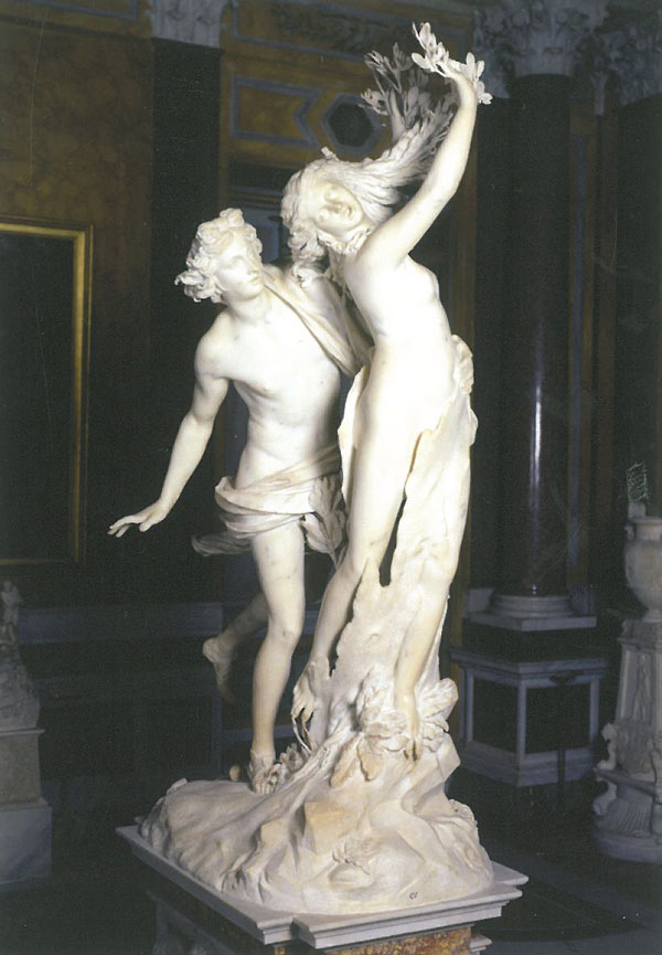 Gian Lorenzo Bernini's statue of APOLLO AND DAPHNE is 8 feet tall, excluding its pedestal. Bernini began it in 1622, and completed the piece in 1625. Image courtesy of Galleria Borghese.