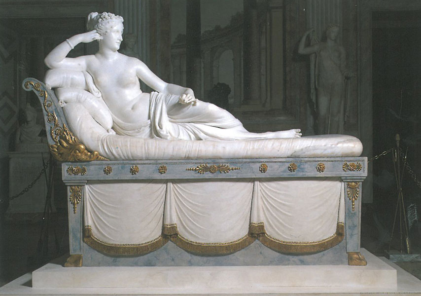 Antonio Canova: PORTRAIT OF PAULINE BONAPARTE AS VENUS VICTRIX. Pauline Borghese, Napoleon's sister, was immortalized in white marble. The statue's surface is given fleshly sheen, with an application of wax. Made 1805--1808. Image courtesy of Galleria Borghese.