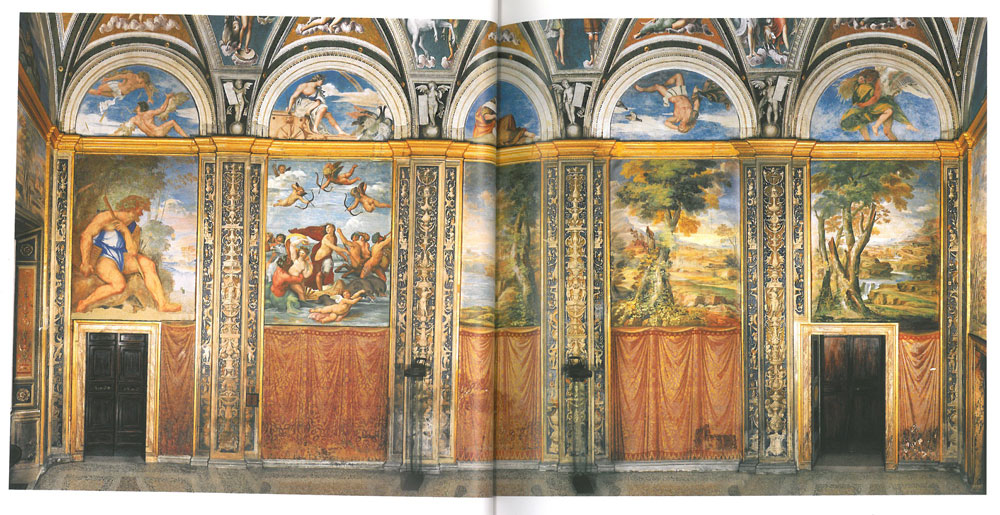 The Loggia of Galatea. Used as a setting for banquets, the frescoes in this room were designed in 1510 by Baldassare Peruzzi, but were then painted by an assortment of artists, including Peruzzi himself, Raphael, and Sebastiano del Piombo. Cardinal Girolao Farnese, who owned the Villa during the mid 1650's, also had frescoes of landscapes added to the space. Image courtesy of LA VILLA FARNESINA A ROMA, published by Franco Cosimo Panini.